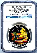 2013 CANADA $20 SILVER PROOF AUTUMN BLISS NGC PF70 COLORIZED FIRST RELEASES