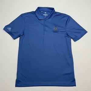 Adidas Mens Small Blue Trump Golf Links Ferry Point Short Sleeve Golf Polo Shirt