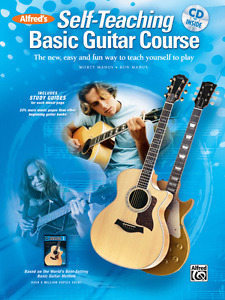 """ALFRED'S """"SELF-TEACHING BASIC GUITAR COURSE"""" MUSIC BOOK/CD-INSTRUCTION NEW SALE!"""