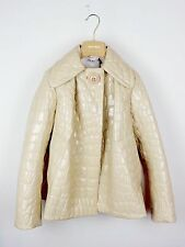 MIU MIU F/W 2015 RUNWAY Beige Alligator Print Swing Coat Jacket IT38/US4 NWT
