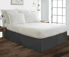 Box Pleated with Split Corners Bed Skirt Classic Tailored Bed Skirt Dark Grey