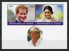 Chad 2018 MNH Prince Harry & Meghan Princess Diana 2v M/S Royalty Stamps