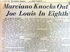 2 1951 newspapers ROCKY MARCIANO defeats JOE LOUIS in HEAVYWEIGHT BOXING MATCH