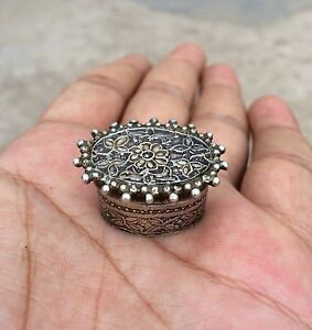 Vintage Silver Opium/Tobacco Keeping Box Flower Design Engraved Oval Collectible