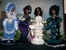 4 DIANE'S CROCHET DOLLS & THINGS HANDMADE A.A. SOPHISTICATED LADIES BARBIE DOLLS