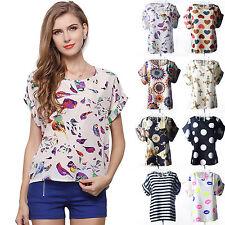 Women Casual Short Sleeve Fancy Pattern Loose Summer Chiffon T-shirt Tops Summer
