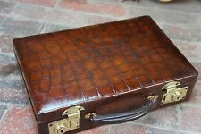 Splendido ORIGINALE 1920s Coccodrillo ATTACHE VALIGETTA
