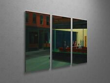 "Edward Hopper Nighthawks Canvas Triptych Canvas Wall Art 48""x30"""