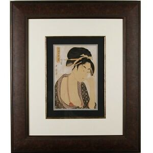 "Kitagawa Utamaro ""Moatside Prostitute"" Woodblock Print Frame: 35"" x 30"""