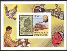 Ivory Coast 1979 Hill/Concorde/Steam Engine/Trains/S-on-S/Pigeon impf m/s b1256