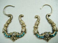 ANTIQUE VICTORIAN 10K GOLD NATURAL PEARL TURQUOISE SCROLLED HOOP EARRINGS