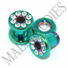 0956 Green Screw-on CZ Tunnels 4 Gauge 4G Ear Plugs 5mm