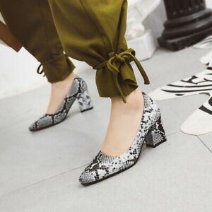 Women Pumps Snake Pattern Pointed Toe Chunky Heels OL Office Work Shoes Slip On