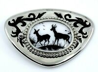 Deer Hunting Belt Buckle Black White Silvertone Western Wear