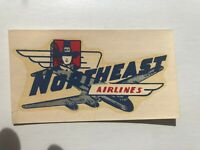 1950's Northeast Airlines Window Decal w/ Airplane and Pilgrim
