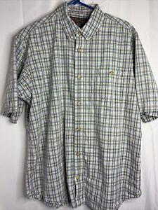 Duluth Trading Co Short Sleeve Button Shirt Men's Large Plaid Cotton
