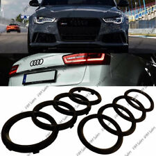 Black Gloss Set Front Rear Grille Badge Rings Logo Emblem Audi A6 Q3 Q5 285x99mm