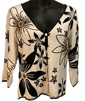 Boston Proper Size Large Cardigan Sweater White Black Wood Buttons 3/4 Sleeves