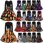 Womens Pumpkin Print Long Sleeve Midi Dress Halloween Costume Skater Swing Dress