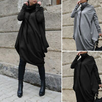 UK Women Batwing Sleeve Heaps Neck Cape Midi Dress Ladies Loose Pullover Tops