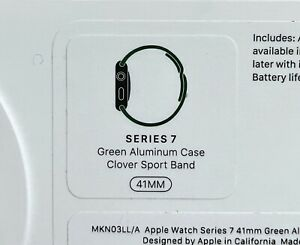 NIB Apple Watch Series 7 GPS, 41mm Green Aluminum Case with Clover Sport Band