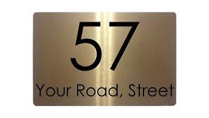 Personalised Address & Number Metal Aluminium Sign Plaque Door House 5 Sizes