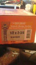 Red Head Trubolt Wedge Anchor 1/2 x 2-3/4, Box 25 pcs Concrete Anchors Free Ship