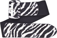 67061 White Black Zebra Print Wide Stretch Belt Sourpuss Animal Pinup 50s Small