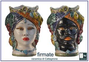 teste di moro siciliane in ceramica di Caltagirone faccia siciliana uomo donna