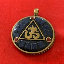 OM Aum Ohm Lapis Lazuli Coral Obsidian Circle Medallion Antique Gold Pendant