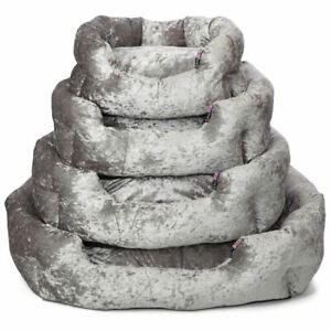 Bellagio Crushed Velvet Dog Bed Soft Washable Fleece Cushion Warm Luxury Pet