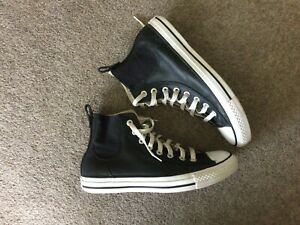 Converse Black Leather All Star Hi Top Size 7