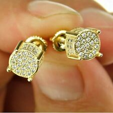 Gold Hip Hop Stud Screw Back Earrings Cz Round Bullet Micro Pave Sterling Silver