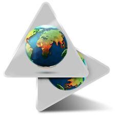 2 x Triangle Stickers 10 cm - Origami Polygonal Earth Planet Globe  #21970