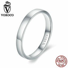VOROCO New 925 Silver Wedding Ring Bands With High Polish And 3 Size For Bride