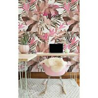 Tropical Pink Leafs Exotic Non-Woven wallpaper Traditional Roll Home Mural