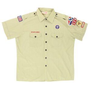 "VTG Boy Scouts of America Men XL 52"" Official Shirt S/S Button Patch Circle Ten"