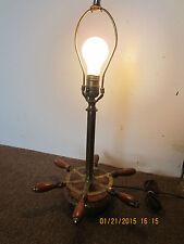 NAUTICAL, VINTAGE BRASS BOAT WHEEL TABLE LAMP