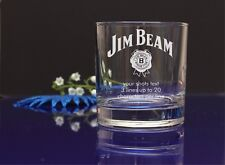 Personalised JIM BEAM Engraved present Whisky/Tumbler Glass Birthday,Christmas74