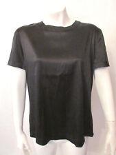 St. John Made in Italy Silk Blouse Top Camisole sz 4 Career Black Short Sleeve