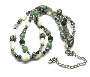 Carolyn Pollack Sterling Silver 2 Strand Coral Turquoise Multi Bead Necklace