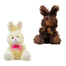 """2 Easter Bunny Rabbits Chocolate Scented 7"""" Plush Toy Stuffed Animal Bunnies"""