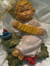 Vintage Italy Christmas Ornament Little Girl Playing Accordion Plastic Musical