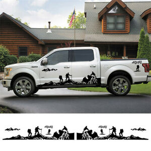 A Pair Mountains Climbing Stickers 4X4 Off Road Graphics Fit For Car Truck Body