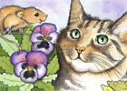 ACEO Limited Edition - Cat and Mice with Pansies print of Original watercolor