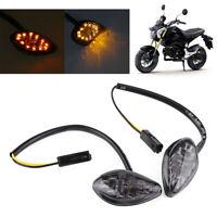 Pair 12V Motorcycle Flush Amber LED Turn Signals Light For Honda Grom 2014-2016