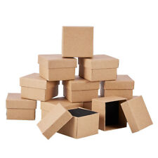 12PC Cardboard Jewelry Gift Boxes Square Bracelet Ring Earring Boxes Tan 9x9x3cm