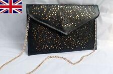 Black Hollow Out Envelope Clutch Bag With Chain Evening Shoulder Handbag HB003