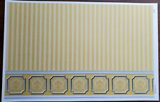 Dollhouse Wallpaper Yellow Gold Striped Annabelle Wainscot 1:12 Scale Itsy Bitsy
