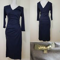 Jaeger Black Long Faux Wrap Fitted Dress Size 12 Work Career Wear